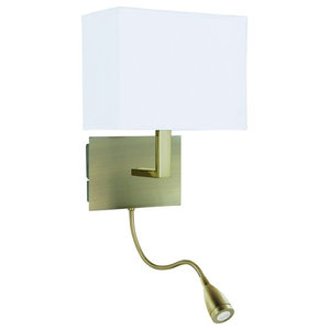 Wall Light Bracket With LED Flexi Arm and Shade, Antique Brass