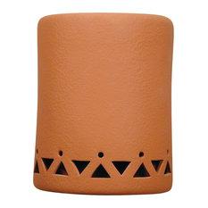 "9.5"" Round Open Top Ceramic Wall Sconce, Tribal Drum Border Design, Terracotta"