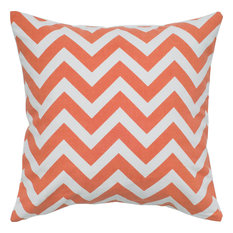 "Chevron - Orange, White, Polyester Filler, 18"" x 18"""