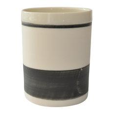 Porcelain and Enamel Espresso Cups With Stripe Design, Black, Set of 4