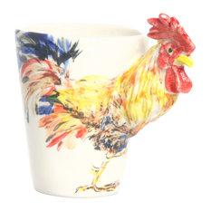 Rooster 3D Ceramic Mug, Yellow