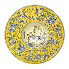 """Gubbio Ceramiche Rinascimento 11"""" Cappello da Prete Plate, Lyre Musician"""