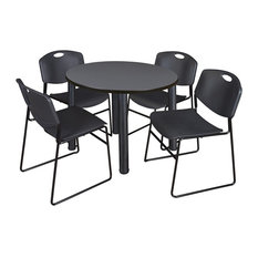 Kee 42-inch Round Breakroom Table Gray/ Black And 4 Zeng Stack Chairs Black