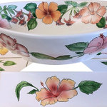 Idaho Mud - Limited Edition Hand Painted Aloha Vessel Sink, Sink and Tile Set - Bring a tropical flair to your bathroom with these beautifully handpainted, one of a kind oval vessel sink and trim tile set.