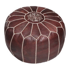 Moroccan Leather Pouf Ottoman, Brown, Unstuffed