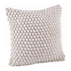 Handmade Crochet Pompom Throw Pillow, White
