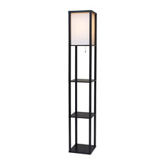 Revel/Kira Home Toro Wood Floor Lamp With Shelves, Black, Off-White Shade, Black