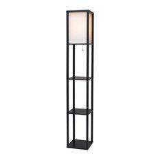 Revel/Kira Home Toro Wood Floor Lamp With Shelves, Black, Off-White Shade, Black