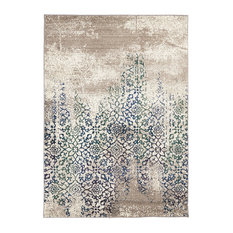 - Liwa Faded Blue & Green Floral Motif Rug - Floor Rugs