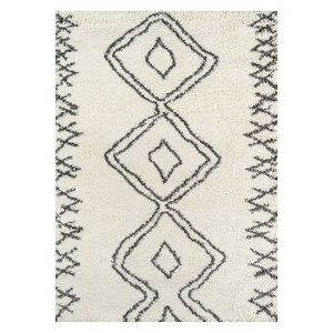 "Maya Collection Rug, Ivory With Charcoal, 7'10""x9'10"""