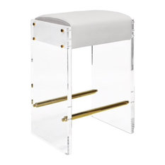 Worlds Away Indy Acrylic Stool, White Vinyl/Brass Accents