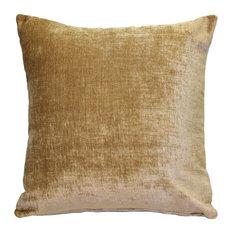 Pillow Decor, Venetian Velvet Golden Brown Throw Pillow 18x18