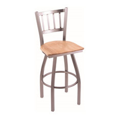 810 Contessa 25-inch Counter Stool Stainless Finish Natural Oak Seat