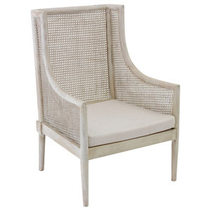 Whitewashed Wooden Armchair With Cushion