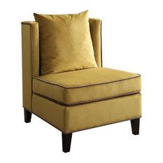Ozella Velvet Accent Chair, Yellow