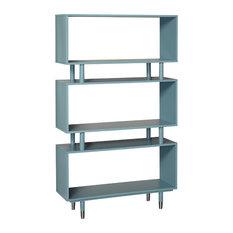 Margo Bookshelf, Antique Blue With Silver Finish Bracket