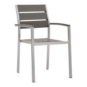 Modway Shore Outdoor Patio Aluminum Dining Armchair EEI-3130-SLV-GRY