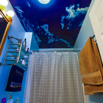 Powder Room Ceiling And Wall Coverings