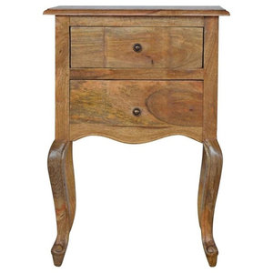 2-Drawer Bedside With French Design Legs, Oak Finish Mango Wood