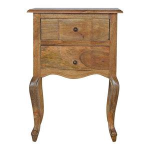 2-Drawer Bedside With French Design Legs, Oak Finish Mango Wood