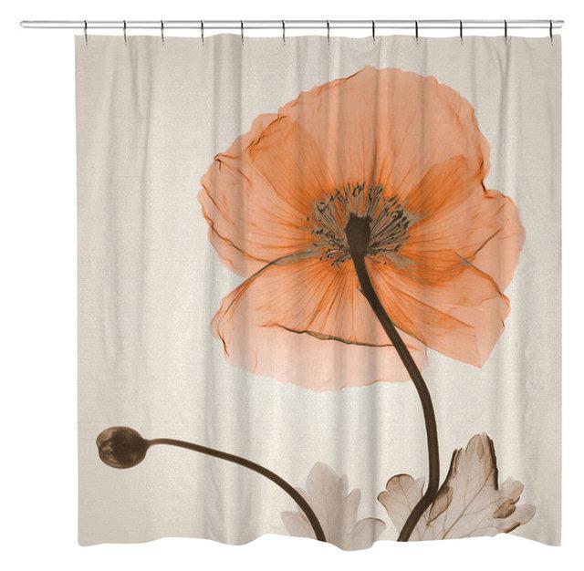 Orange Poppy Flower Shower Curtain Contemporary Shower