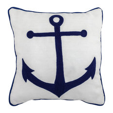 """Embroidered Anchor Outdoor Pillow, 17"""" Square With Piping"""