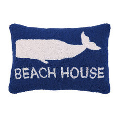 """Beach House"" Whale Hook Pillow"