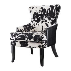Pemberly Row Cowhide Print Accent Chair in Black and White