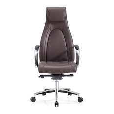 Modern Vanderbilt Leather Adjustable Executive Chair With Aluminum Base, Brown
