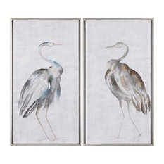 White Gray Tall Cranes Modern Wall Art, Set of 2 Birds Silver Facing Herons