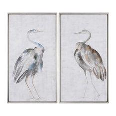White Gray Tall Cranes Modern Wall Art, Set of 2 Birds Silver Facing Herons