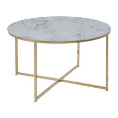 Alismar Round Coffee Table, White, Golden Chrome Base