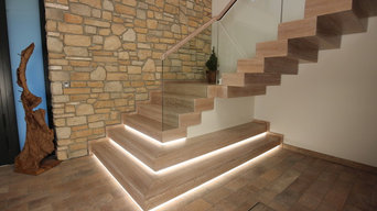 Design-Blocktreppe in Eiche weiss