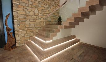 Design-Blocktreppe in Eiche weiss
