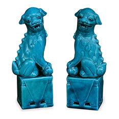 Porcelain Blue Foo Dogs, Set of 2