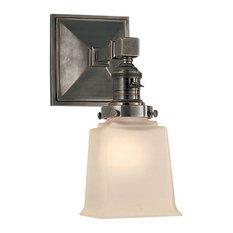 E.F. Chapman Boston Frosted Glass Bath Wall Light, Bronze