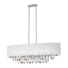 Allegro 8-Light Oval Chandelier With White Milano Shade