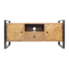 22.75-inch Natural Turquoise Metal Wood MDF TV Stand With Drawer And 2 Doors