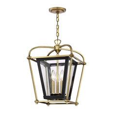 Baron 3-Light Foyer Lantern Chandelier Semi Flush Mount Fixture, Aged Brass and