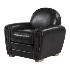Paris Club Chair, Distressed Black Leather