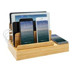 G.U.S. Charging Desk Organizer with Wireless Smart Charging Pad + USB, Bamboo