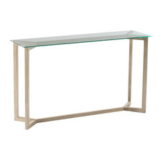 Minimalist Glass Console Table With Grey Wooden Legs
