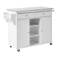 Modern Kitchen Island, White Painted Body With Stainless Steel Top