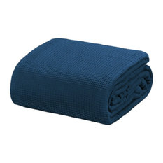 Crover Collection All Season Thermal Waffle Cotton Blanket, Deep Blue, Queen