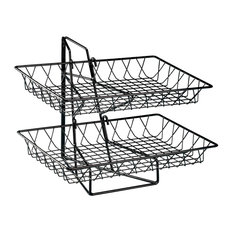 2 Tier Square Wire Basket Rack, Black