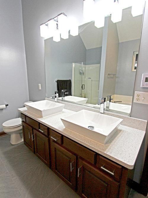 master bath with cambria quartz and rectangle