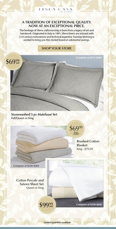 tuesday morning has a great deal on sferra sheets this month - Comphy Sheets