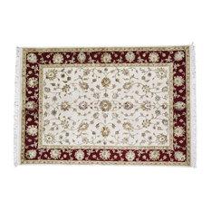 "5'x7'1"" Handmade Half Wool and Half Silk Rajasthan Oriental Rug"