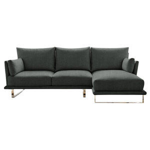 Eleanor Chaise Sofa, Pewter, 3-Seater Right Hand Facing