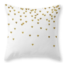 "Gold Hearts Throw Pillow Cover, 20""x20"" With Pillow Insert"